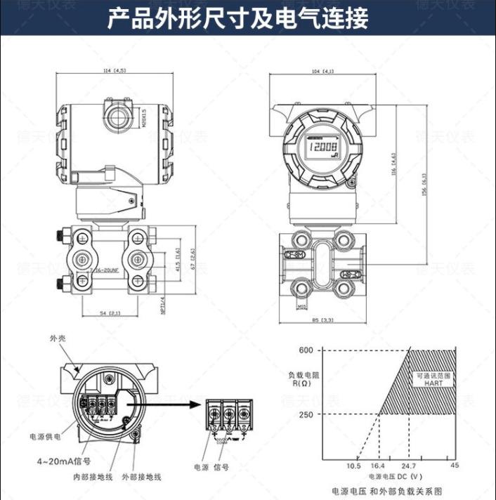 1151压力变送器外形尺寸及电气连接图