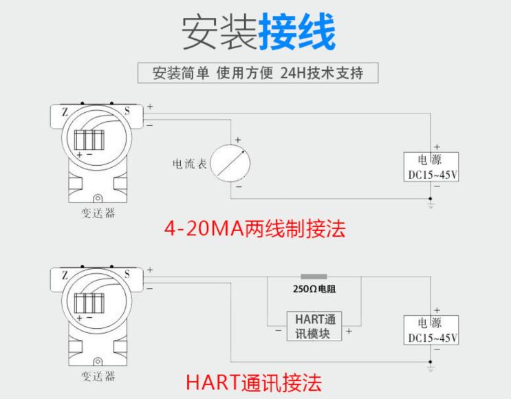 单晶硅压力变送器安装接线图