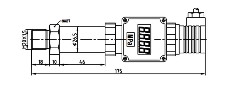 数显压力变送器产品结构及外形尺寸图