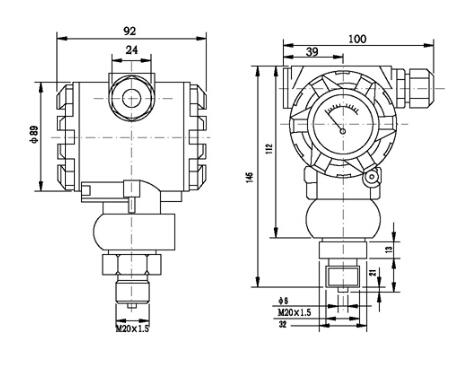 扩散硅压力变送器外形尺寸图