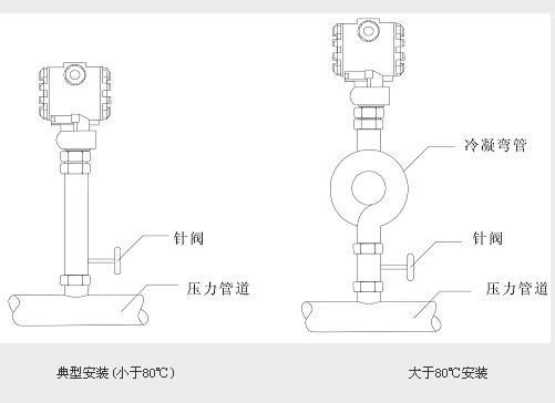 扩散硅压力变送器安装示意图