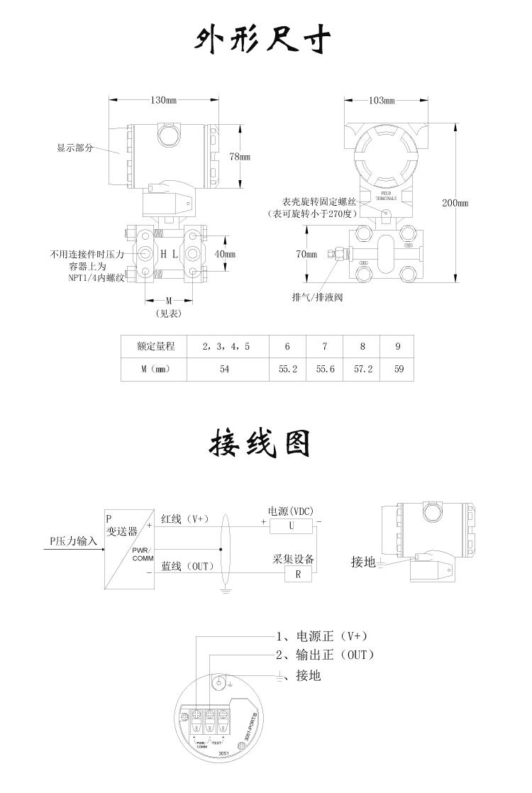 3051压力变送器外形尺寸及接线图
